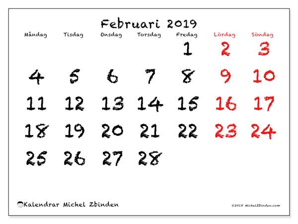 Kalender februari 2019, 46MS. Almanak för att skriva ut gratis.