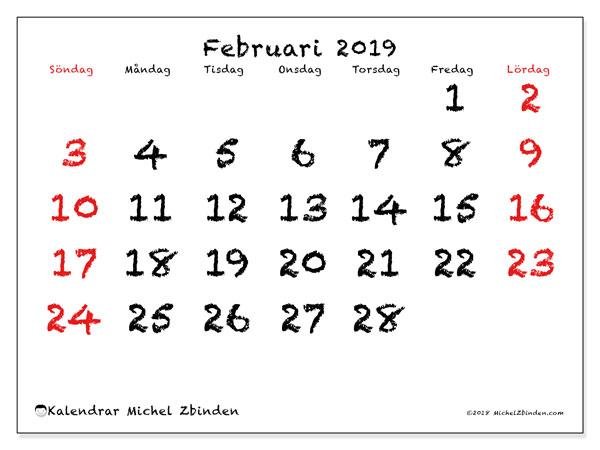 Kalender februari 2019, 46SL. Kalender för gratis utskrift.