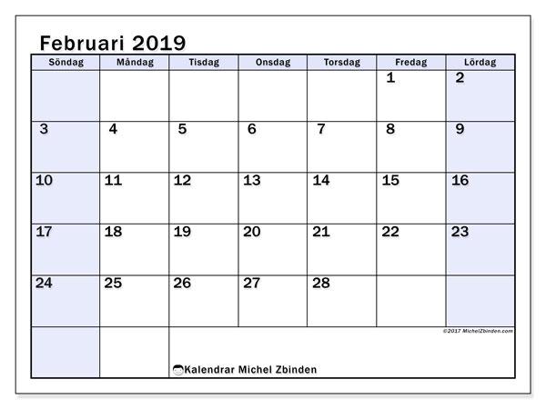 Kalender februari 2019, 57SL. Kalender för gratis utskrift.