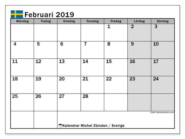Kalender februari 2019, med helgdagar i sverige. Kalender för gratis utskrift.
