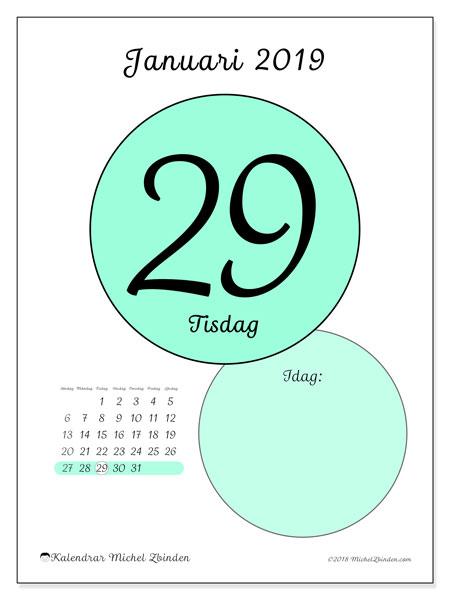 Kalender januari 2019, 45-29SL. Daglig kalender för att skriva ut gratis.