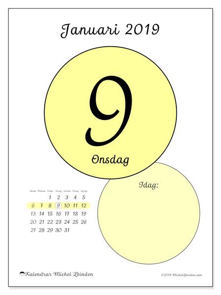 Kalender januari 2019, 45-9SL. Kalender för dagen att skriva ut gratis.