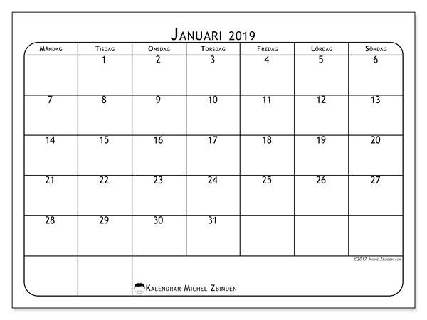 Kalender  januari 2019, 51MS