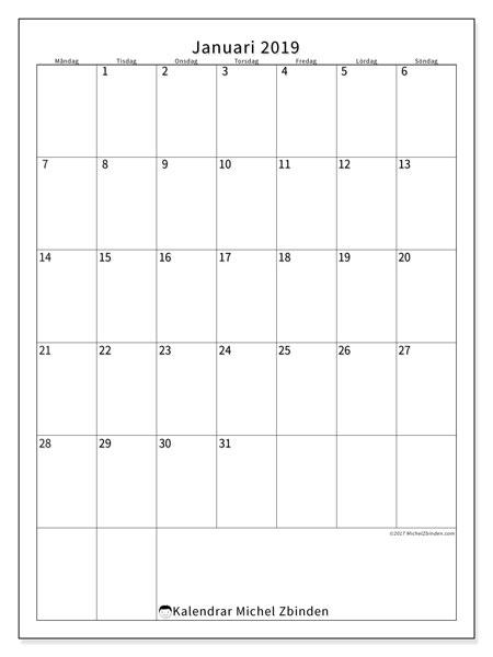 Kalender januari 2019 (52MS). Kalender för att skriva ut gratis.