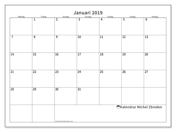Kalender  januari 2019, 53MS