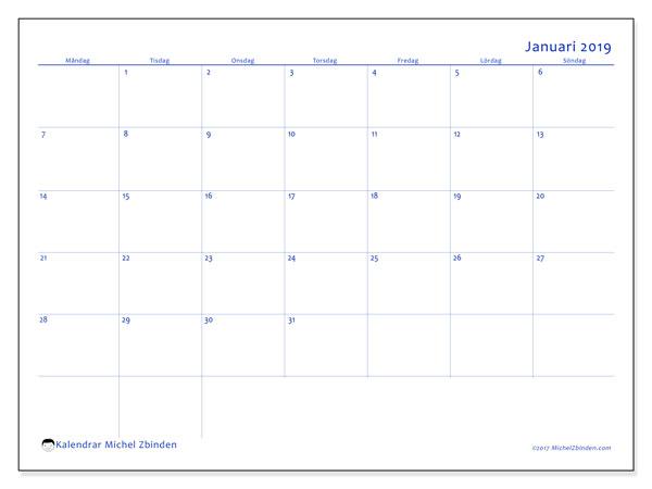 Kalender januari 2019 (55MS). Kalender för året att skriva ut gratis.