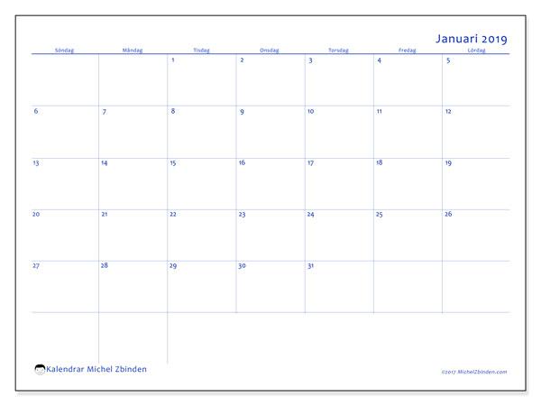 Kalender januari 2019, 55SL. Kalender för gratis utskrift.