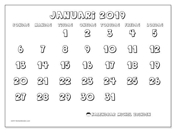 Kalender januari 2019, 56SL. Almanak för att skriva ut gratis.