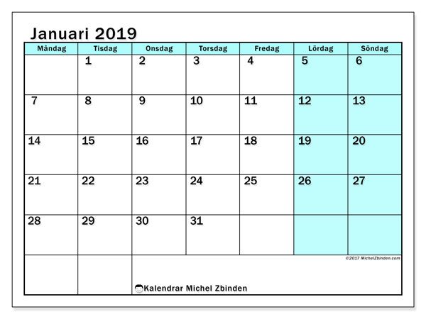 Kalender januari 2019, 59MS. Schema för att skriva ut gratis.