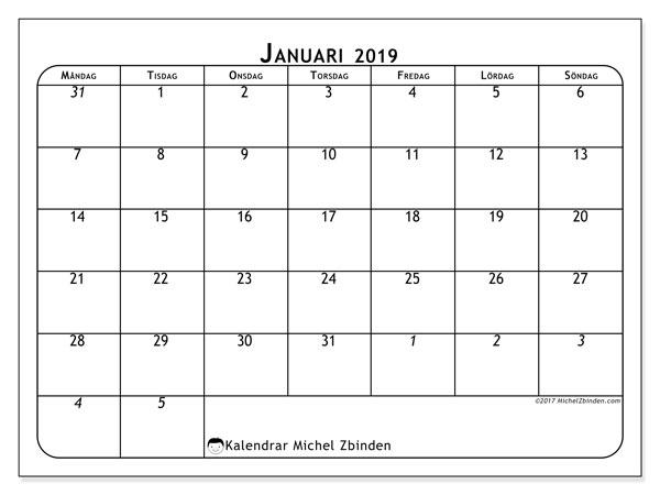 Kalender januari 2019 (67MS). Gratis kalender att skriva ut.