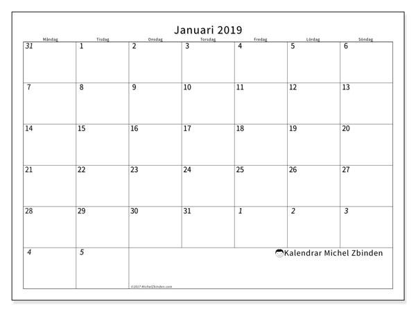 Kalender  januari 2019, 70MS