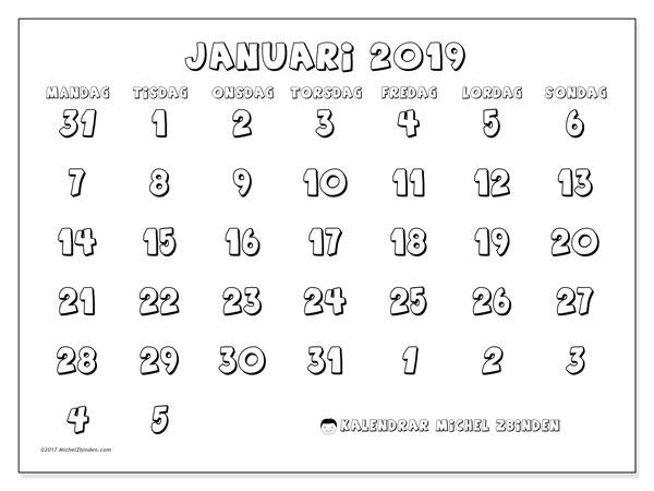 Kalender januari 2019, 71MS. Gratis utskrivbara kalender.