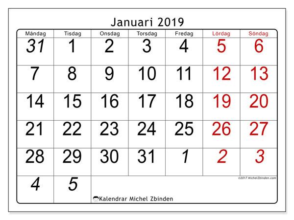 Kalender januari 2019 (72MS). Schema för att skriva ut gratis.