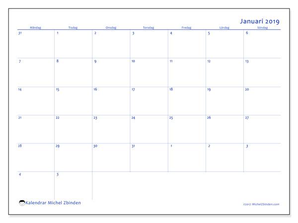 Kalender januari 2019 (73MS). Gratis utskrivbara kalender.
