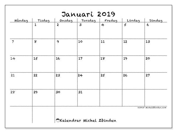 Kalender januari 2019 (77MS). Almanak för att skriva ut gratis.