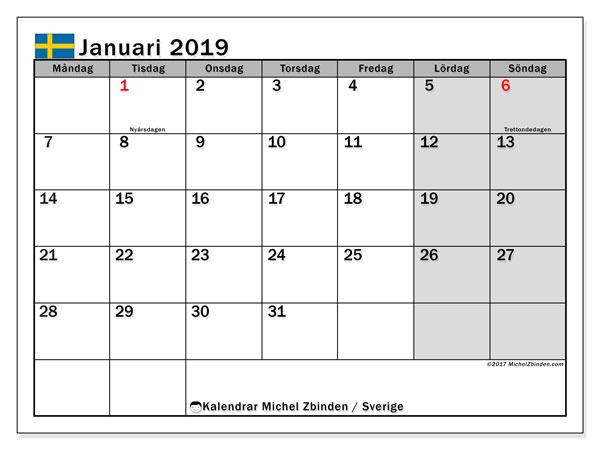 Kalender januari 2019, med helgdagar i sverige. Schema för att skriva ut gratis.