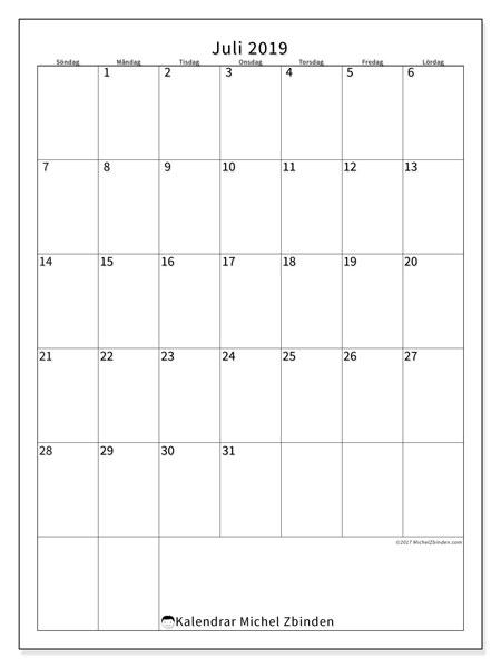 Kalender juli 2019, 52SL. Kalender för gratis utskrift.