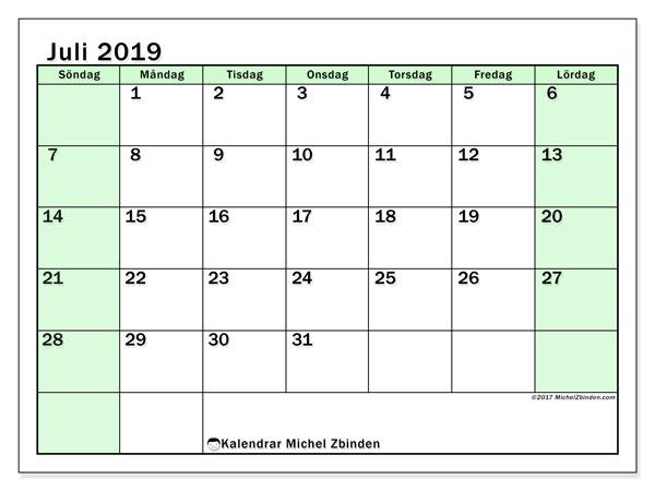 Kalender juli 2019, 60SL. Gratis utskrivbara kalender.