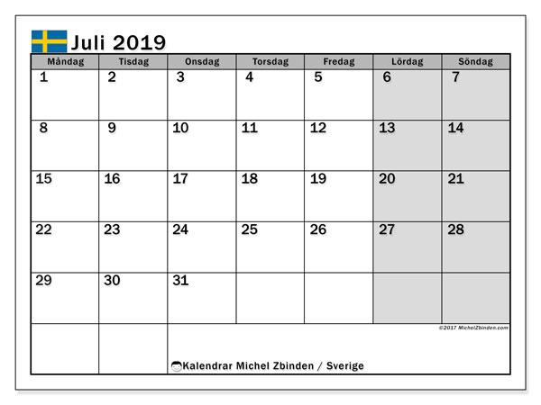 Kalender juli 2019, med helgdagar i sverige. Månadskalender för att skriva ut gratis.