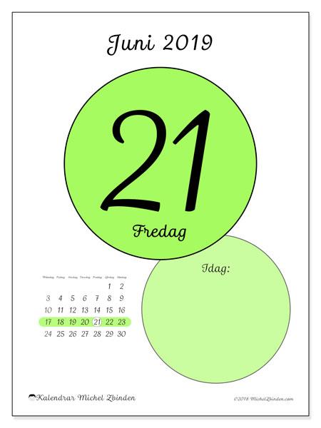 Kalender juni 2019, 45-21MS. Kalender för dagen att skriva ut gratis.