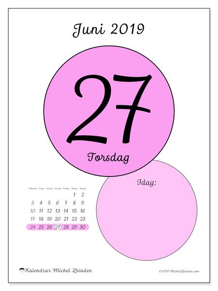 Kalender juni 2019, 45-27MS. Kalender för dagen att skriva ut gratis.
