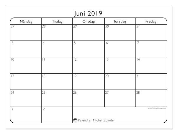 Kalender juni 2019, 74MF. Månadskalender för att skriva ut gratis.