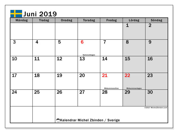 Kalender juni 2019, med helgdagar i sverige. Gratis utskrivbara kalender.