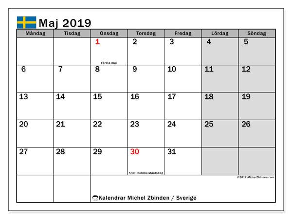 Kalender maj 2019, med helgdagar i sverige. Kalender för att skriva ut gratis.