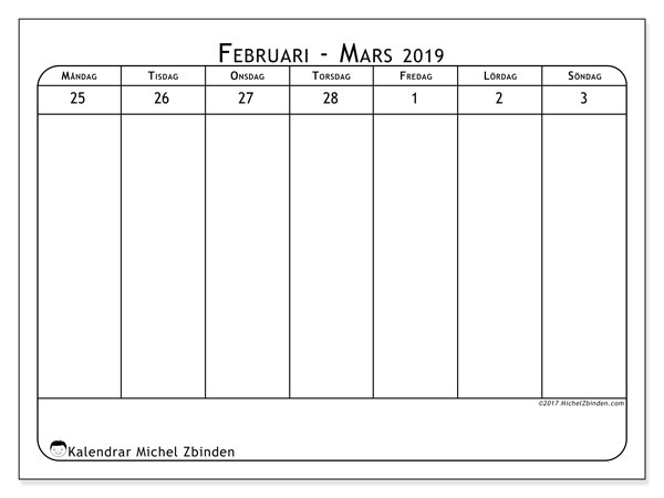Kalender mars 2019, 43-1MS. Almanak för att skriva ut gratis.