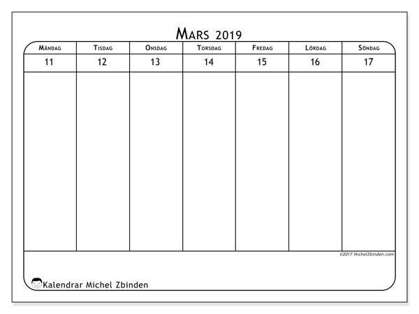 Kalender mars 2019, 43-3MS. Almanak för att skriva ut gratis.