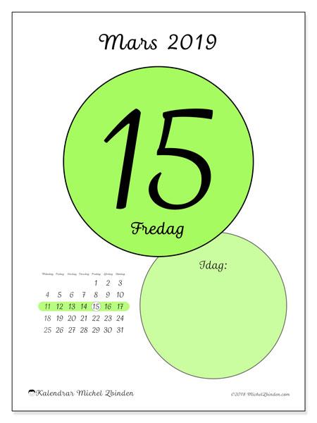 Kalender mars 2019, 45-15MS. Kalender för dagen att skriva ut gratis.
