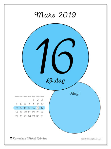 Kalender mars 2019 (45-16MS). Kalender för dagen att skriva ut gratis.