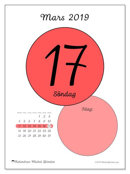 Kalender mars 2019 (45-17MS). Kalender för dagen att skriva ut gratis.