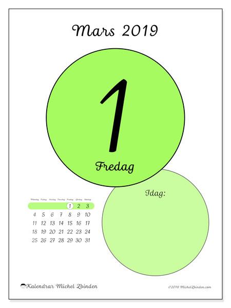 Kalender mars 2019, 45-1MS. Daglig kalender för att skriva ut gratis.