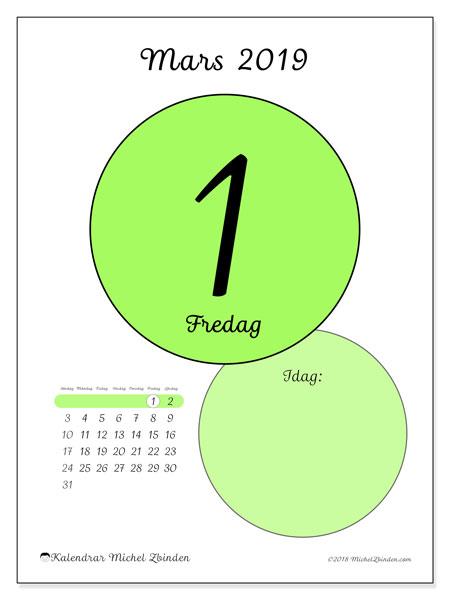 Kalender mars 2019, 45-1SL. Kalender för dagen att skriva ut gratis.
