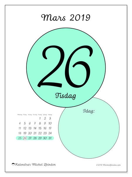 Kalender mars 2019, 45-26MS. Kalender för dagen att skriva ut gratis.