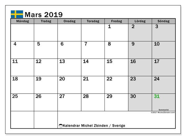 Kalender mars 2019, med helgdagar i sverige. Gratis utskrivbara kalender.