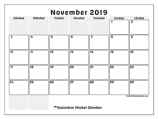 Kalender november 2019, 44SL. Kalender för gratis utskrift.