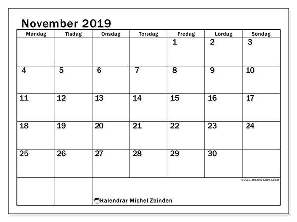 Kalender november 2019, 50MS. Kalender för gratis utskrift.