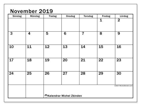 Kalender november 2019, 50SL. Almanak för att skriva ut gratis.