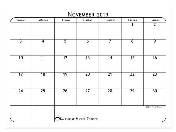 Kalender november 2019, 51SL. Kalender för året att skriva ut gratis.