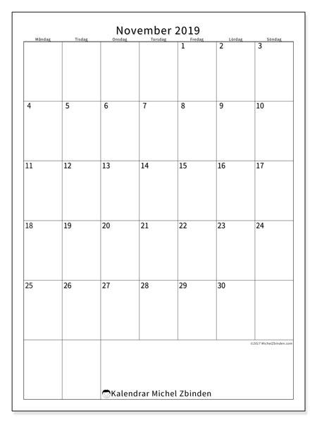 Kalender november 2019, 52MS. Kalender för gratis utskrift.