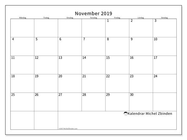 Kalender november 2019, 53MS. Almanak för att skriva ut gratis.