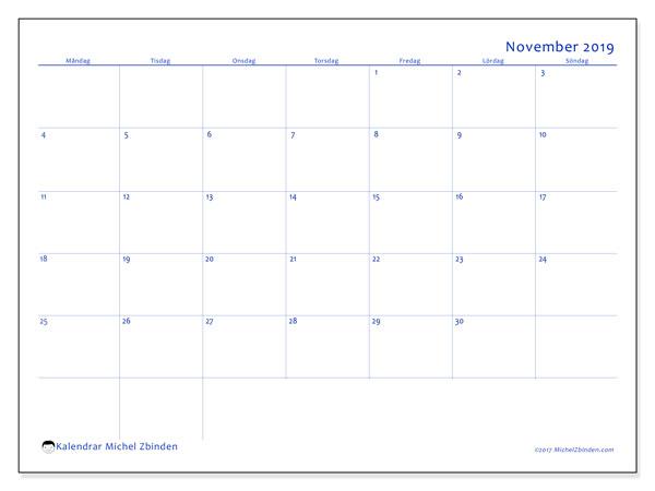 Kalender november 2019, 55MS. Månadskalender för att skriva ut gratis.