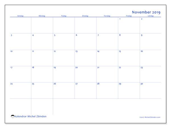 Kalender november 2019, 55SL. Kalender för året att skriva ut gratis.