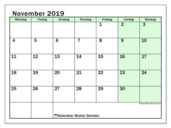 Kalender november 2019, 60MS. Kalender för gratis utskrift.