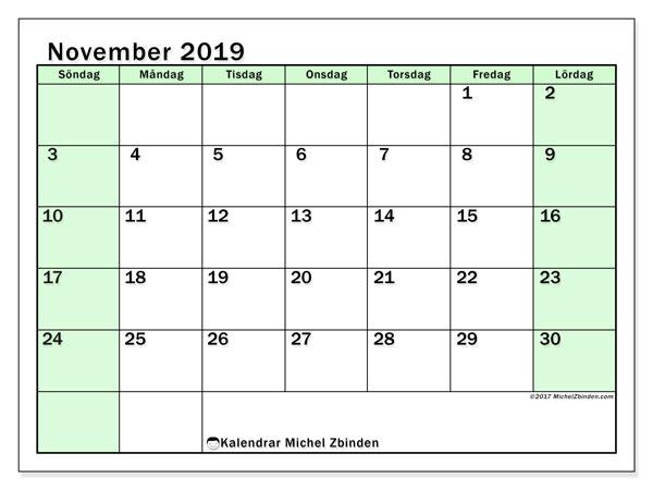 Kalender november 2019, 60SL. Kalender för året att skriva ut gratis.
