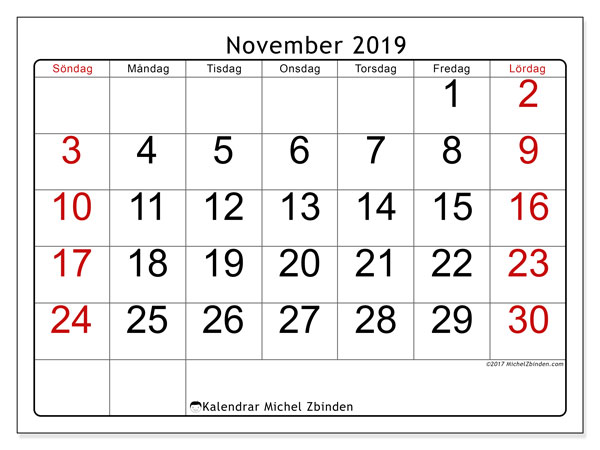Kalender november 2019, 62SL. Kalender för året att skriva ut gratis.