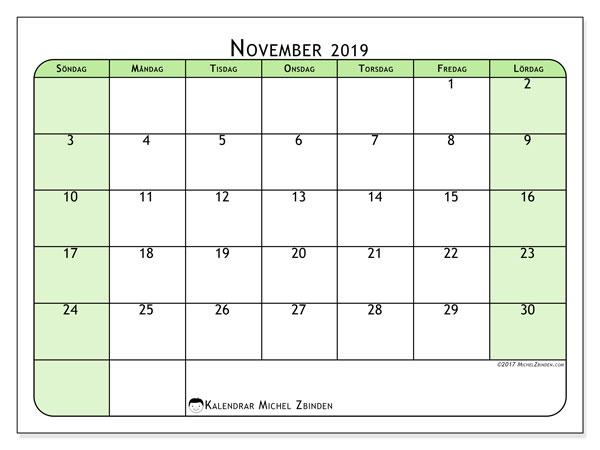 Kalender november 2019, 65SL. Gratis kalender att skriva ut.