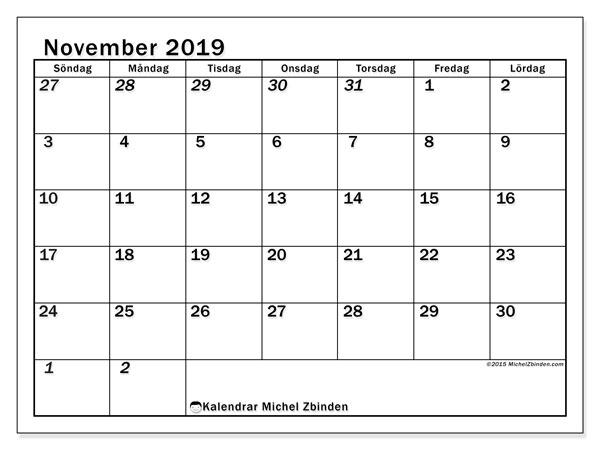 Kalender november 2019, 66SL. Kalender för gratis utskrift.